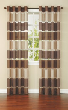 United Linens faux silk and organza single curtain