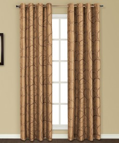Faux silk embroidered window panel with lining